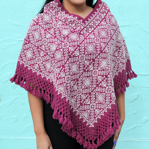 Claret Naturally Dyed Wool Quexquemilt