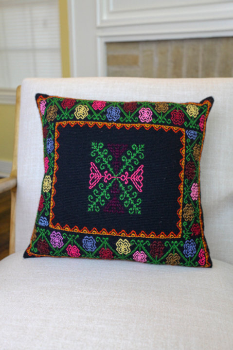 Multicolor on Black Pillow Cover