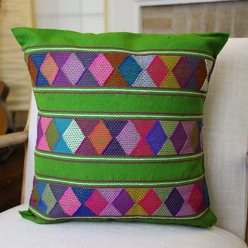 Multicolor on Green Pillow Cover