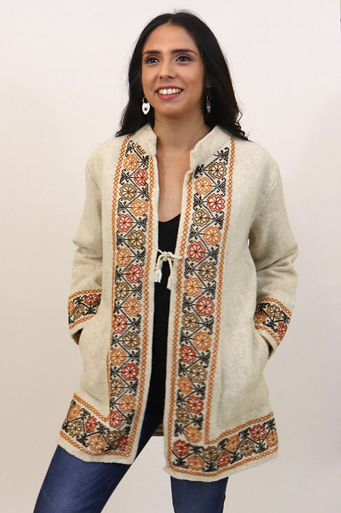 Multicolor on Natural Wool Coat