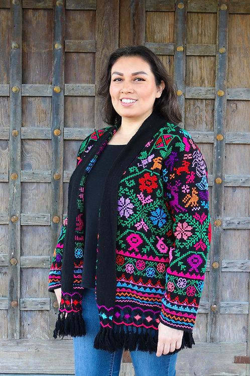 M/L  Multicolor on Black Cotton Coat