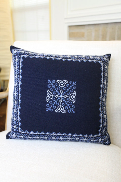 White on Blue Pillow Cover