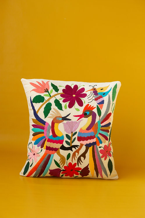 Otomi Multicolor on Natural Manta Pillow Cover