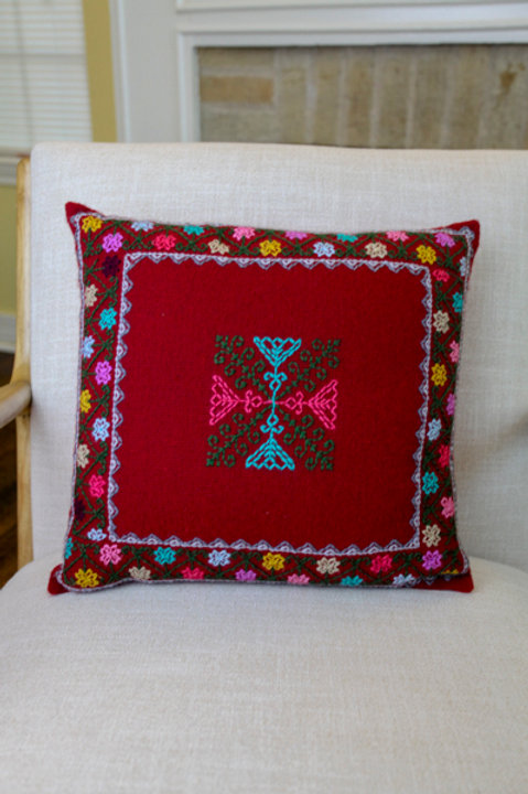 Multicolor on Red Pillow Cover