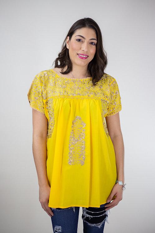 M/L Yellow Blusa Bordada de San Pedro Mártir
