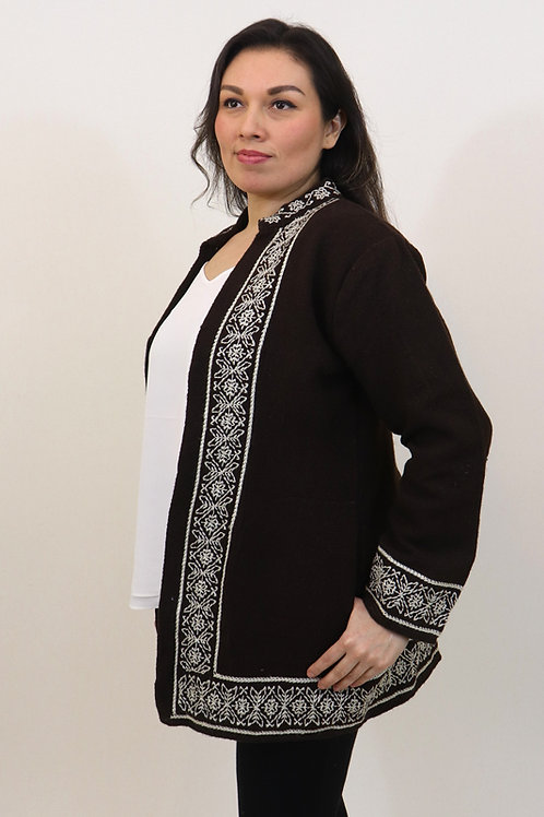 M/L White on Brown Cotton Jacket
