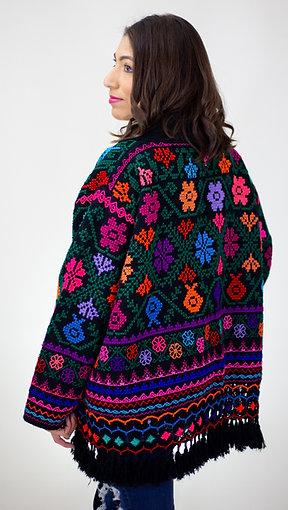 S/M Multicolor on Black Cotton Coat