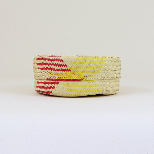 Red, Yellow, Natural Straw Shallow Basket