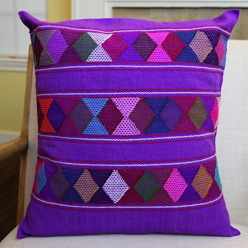 Multicolor on Purple Pillow Cover