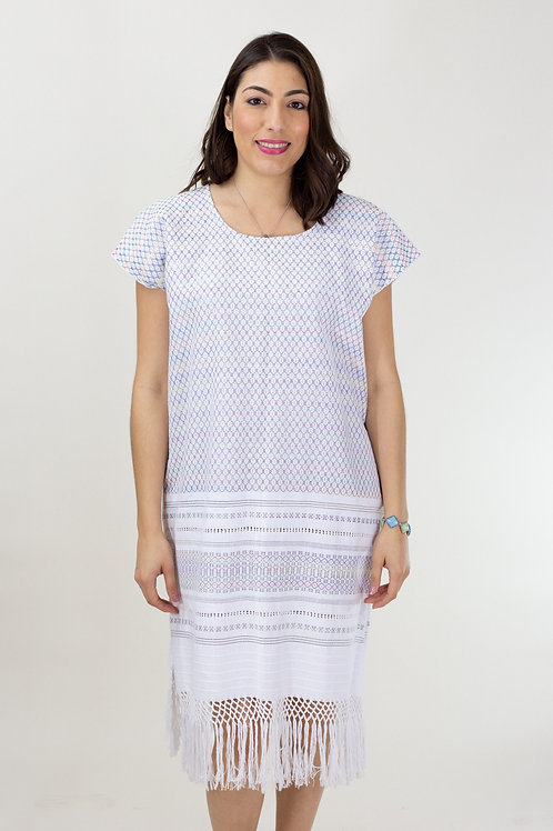 S-L Multicolor on White Mitla Dress