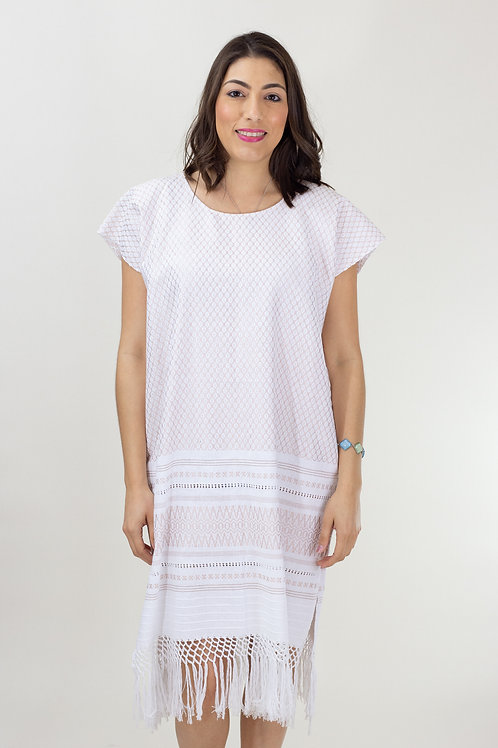 S-L Brass on White Mitla Dress