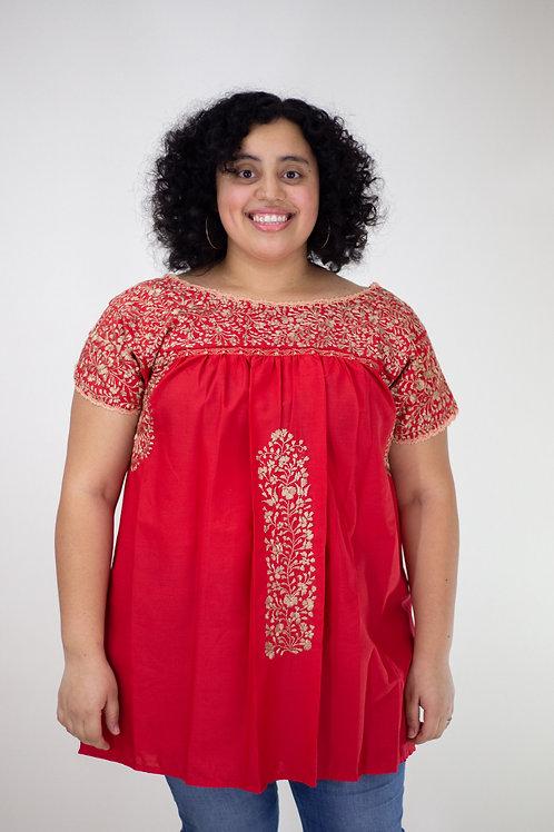 XL Red Blusa Bordada de San Pedro Mártir