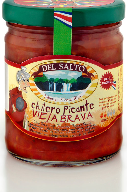 """Chilero Picante """"Vieja Brava"""" - Tico Style Hot Chunky Pepper Sauce - 9oz"""