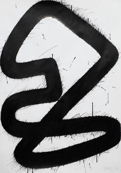 Überlappendes Band ll, Tusche auf Papier, 2020