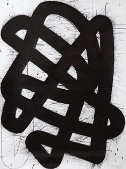 Überlappendes Band V, Tusche auf Papier, 2021