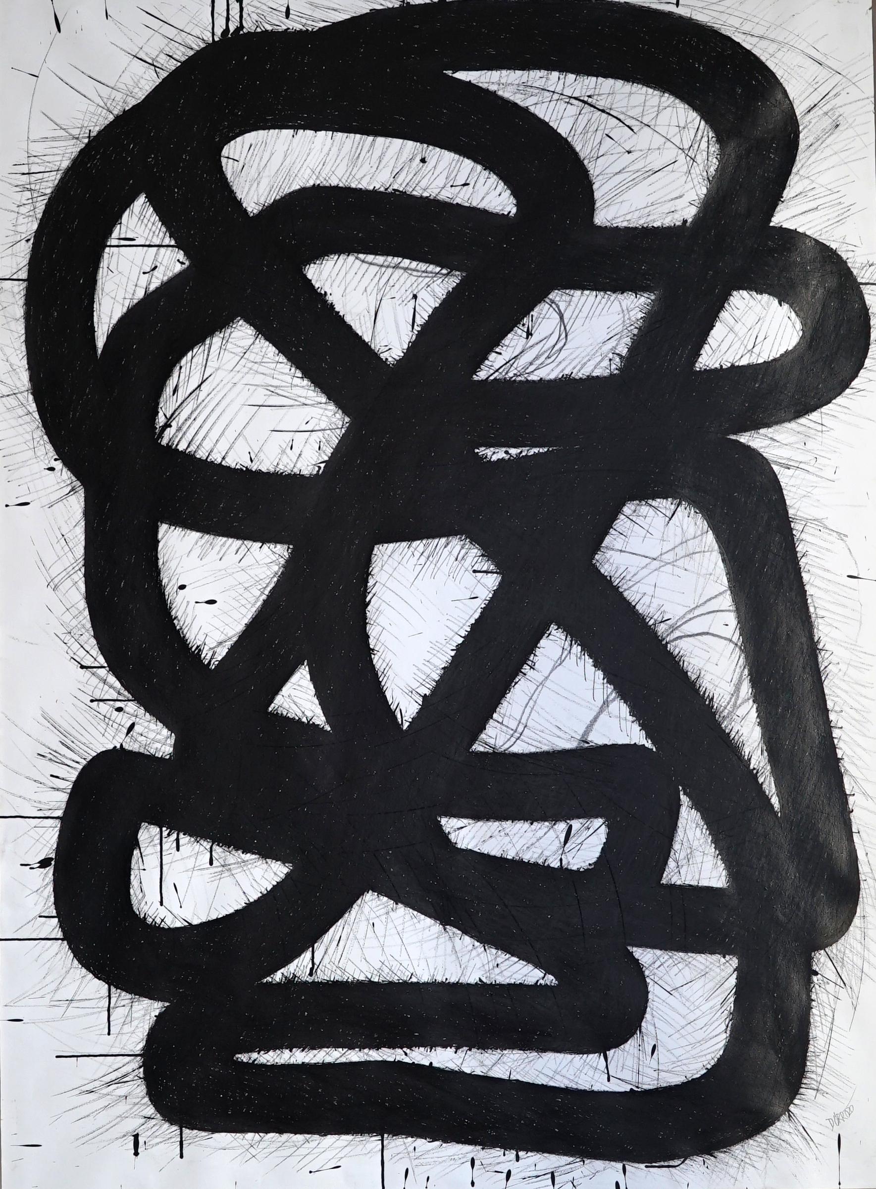 Überlappendes Band, Tusche auf Papier, 2020
