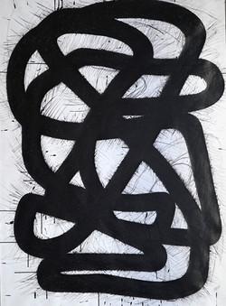 Überlappendes Band lV, Tusche auf Papier, 2020