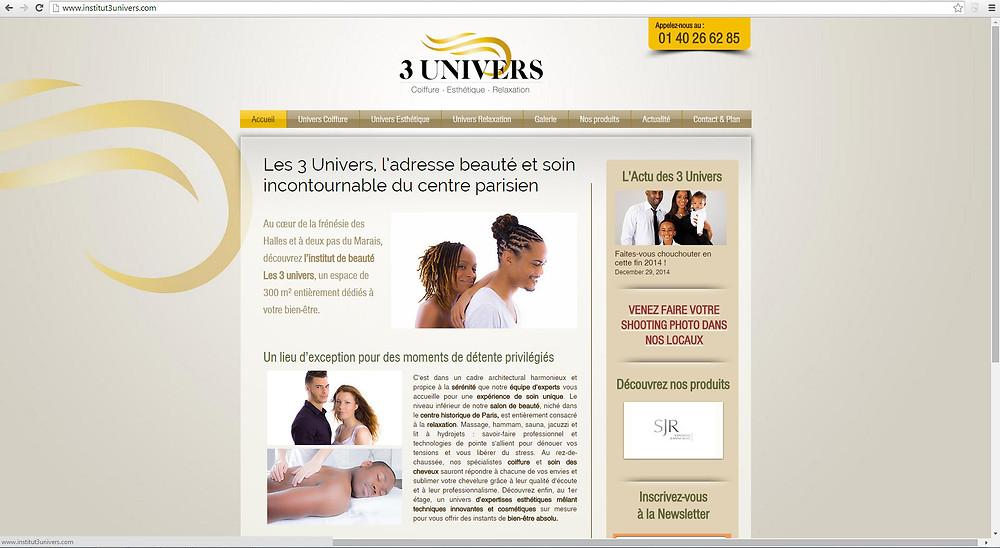 Site Internet institut 3 univers réalisé par Indé-Design