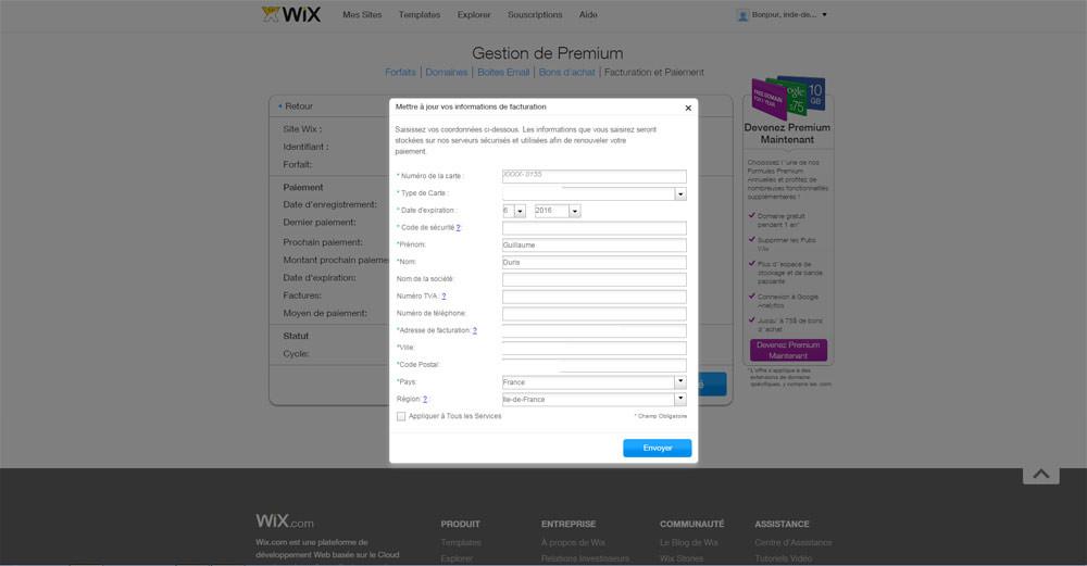 Mettre à jour le paiement de son site WIX