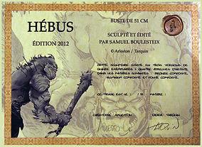 exemple de certificat d'auteur - authenticité Hébus - délivré par Samuel Boulesteix