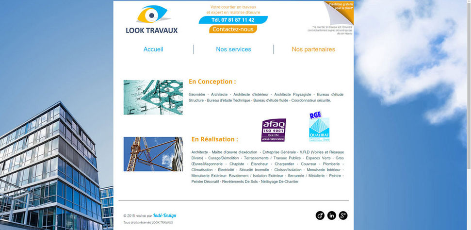 Site Wix pour conducteur de travaux dans le batiment | Indé-Design