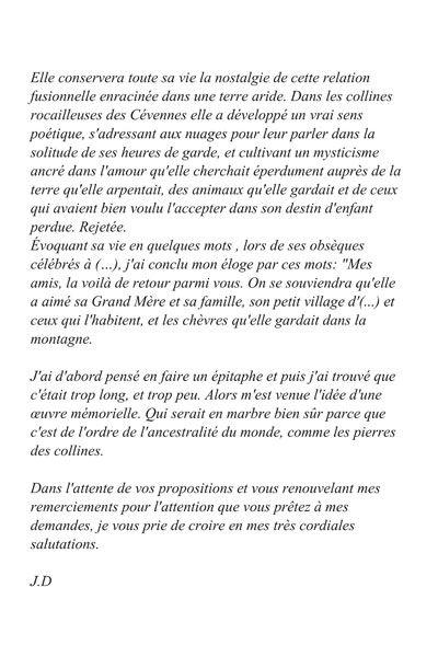 Lettre de commande de sculpture 2 - Samuel Boulesteix