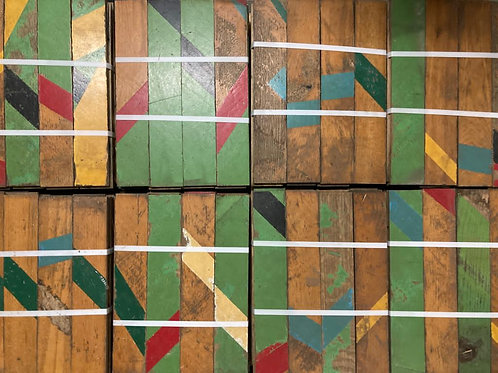 RC407.Reclaimed Colorful Striped Gym Oak Wood Parquet Flooring *Limited Edition*