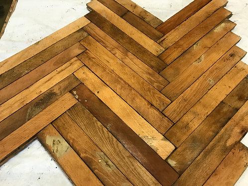 12. Reclaimed Beech Wood Parquet Flooring 70s 80s XX century