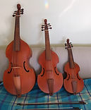 Treble, Tenor, and Bass viols by Ingo Muthesius