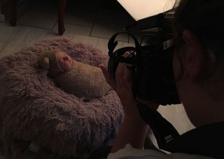 Behind the scenes of a newborn baby photo session