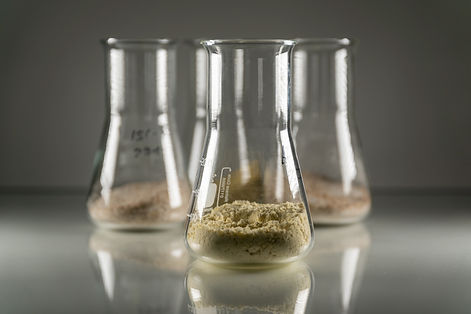 A closeup of glass chemistry flasks with