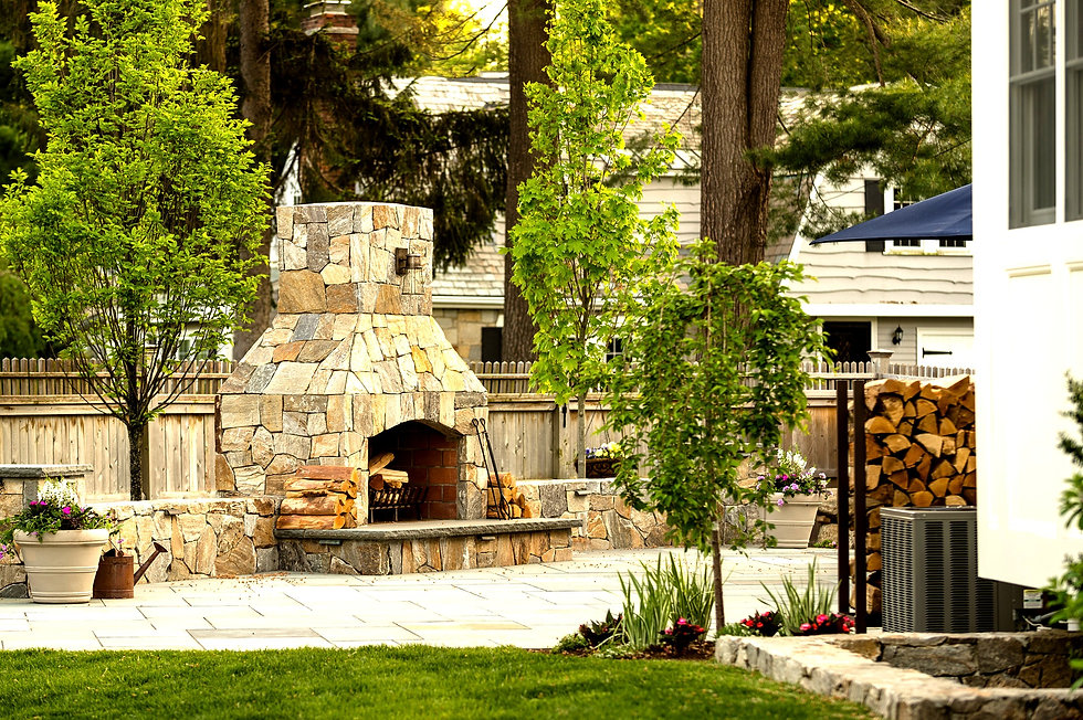 Indresano Corporation landscaping design, construction, maintenance – Wellesey Outdoor Transformation kitchen and fireplace