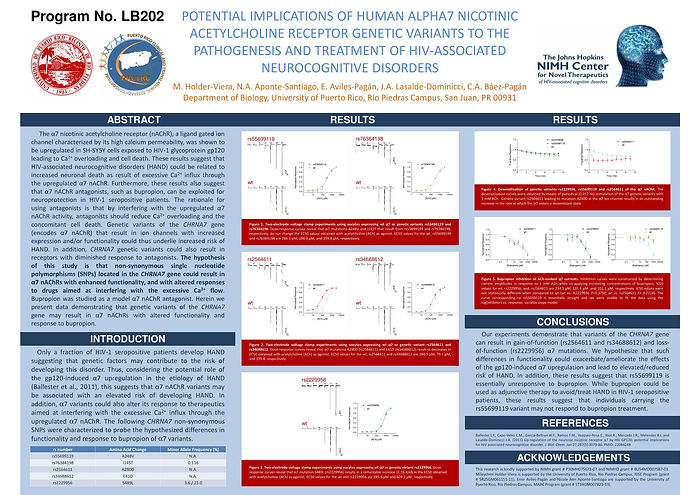 · Potential implications of human Alpha-7 nicotinic acetylcholine receptor genetic variants to the pathogenesis and treatment of HIV-associated neurocognitive disorders. Mileyshmi