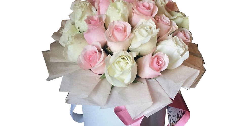 A Box of White and Light Pink Roses