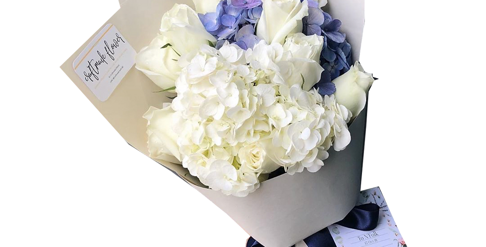 White and Blue Hydrangeas with White Roses