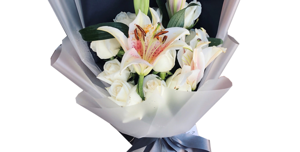 White Roses with Lily
