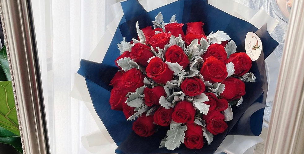 25 Red Roses with Snow Leaves