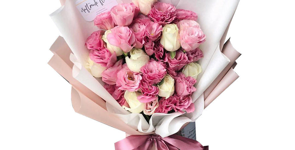 Pink Lisianthus with White Roses