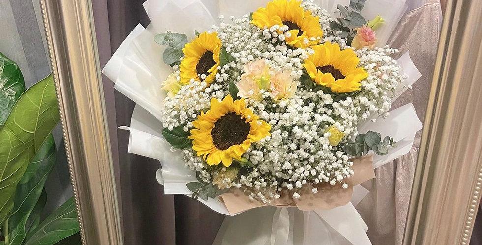 Sunflower between White Gypsy