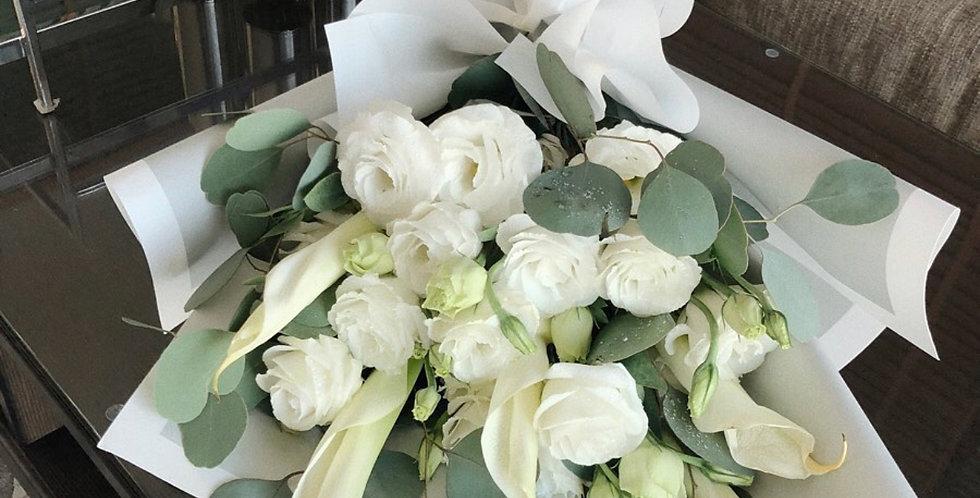 White Lisianthus with Calla Lily