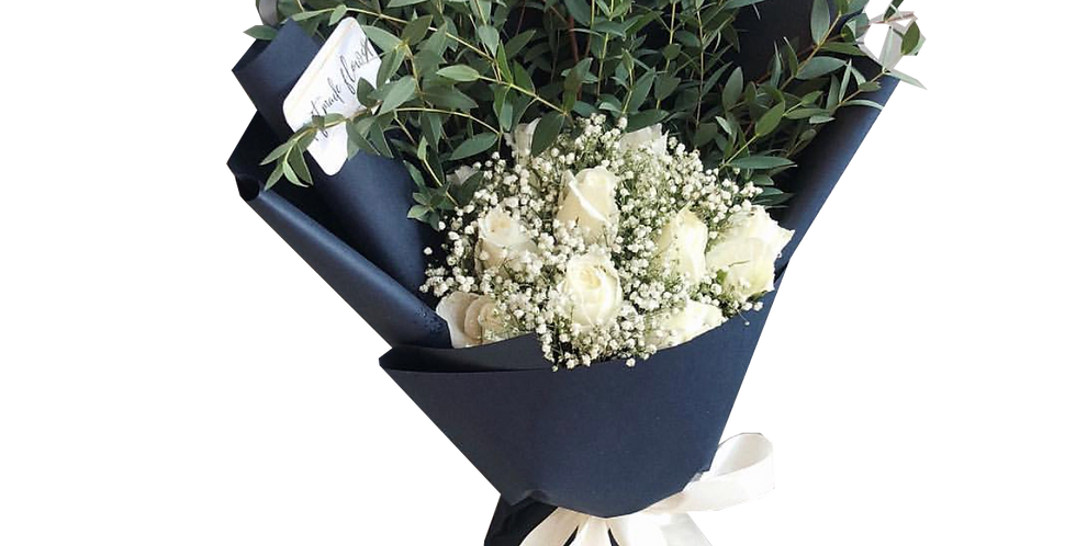 White Roses with Gypsy and Eucalyptus