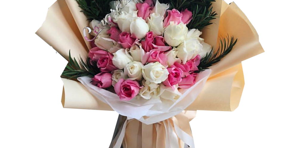 50 Pink and White Roses with Green Leaves