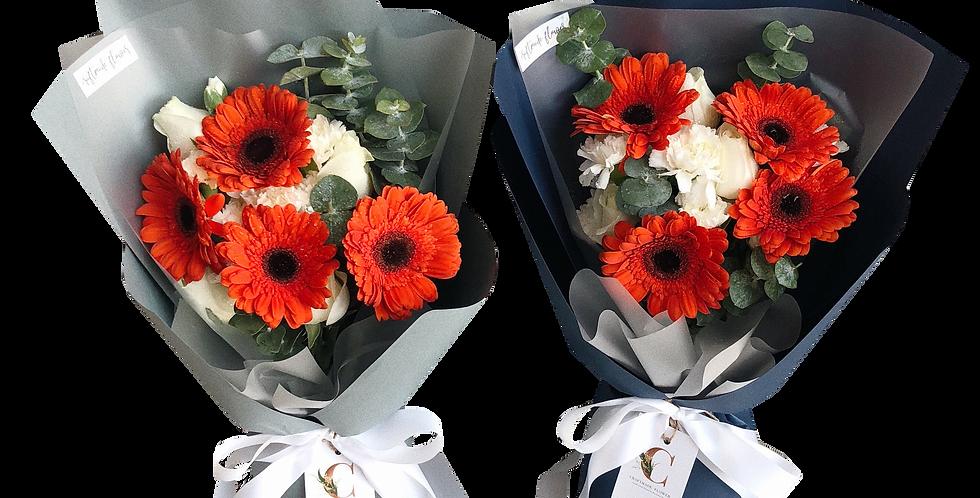 Orange Gerbera with White Flowers