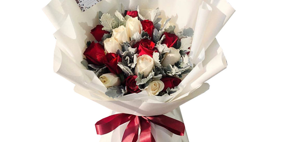 Red & White Roses with Snow Leaves