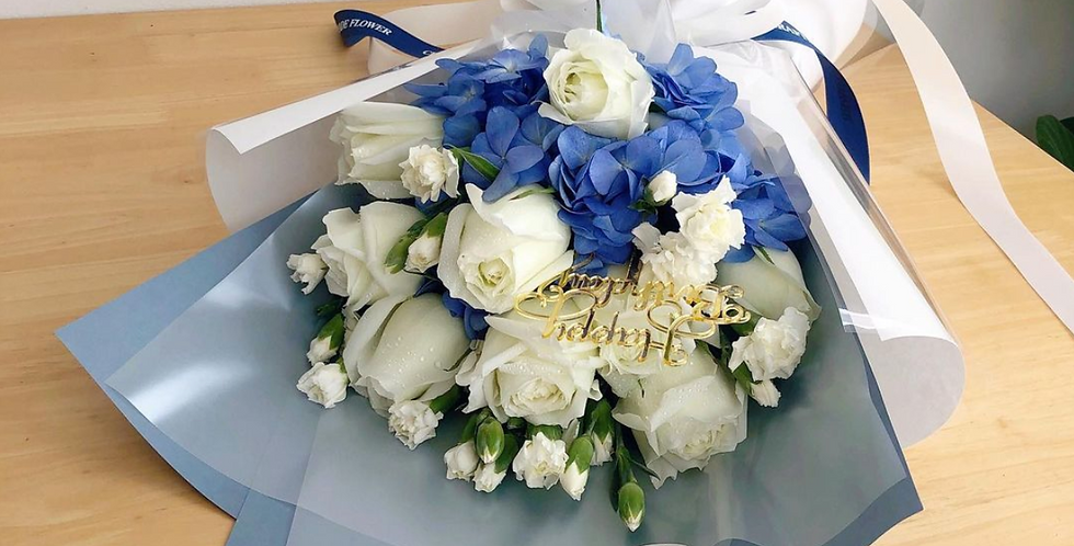 A Mix of White Roses with Blue Hydrangeas