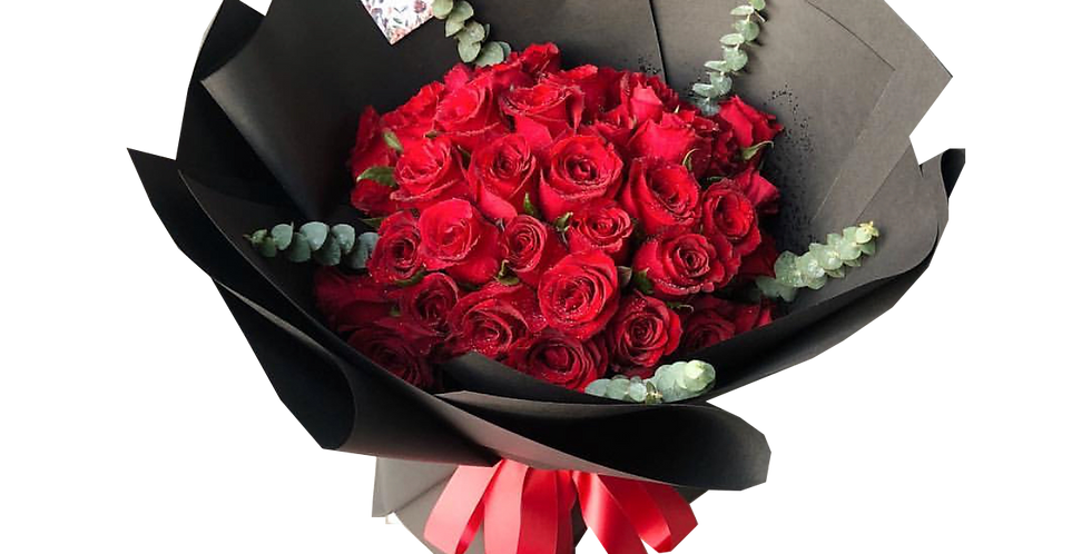 40 Red Roses with Eucalyptus