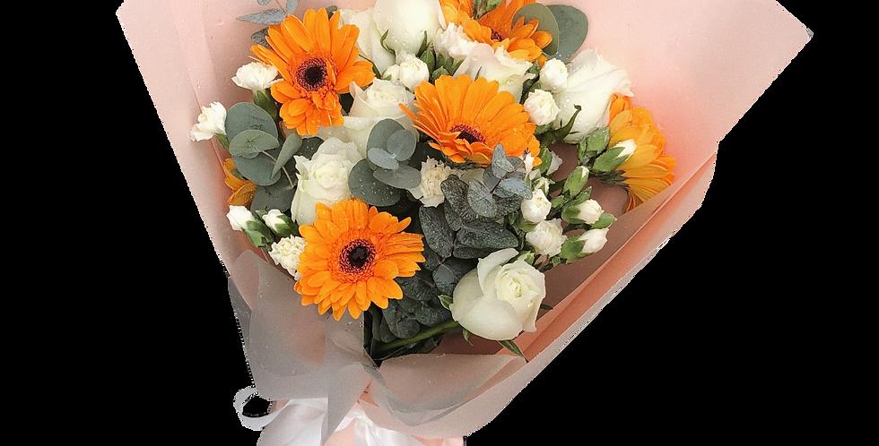 Orange Gerbera Mix with White Tone Flowers