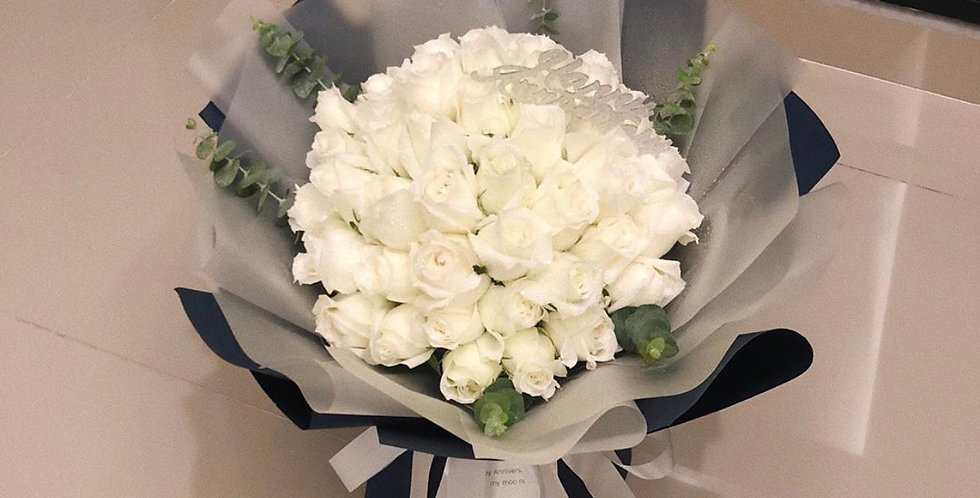 45 White Roses Bouquet