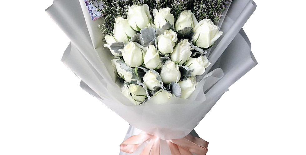 20 White Roses with Caspier & Snow Leaves