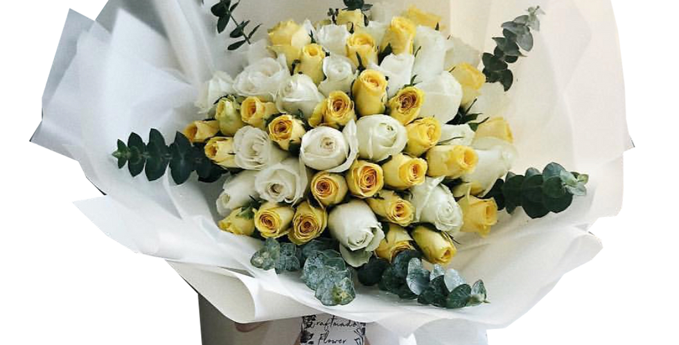 60 White and Yellow Roses